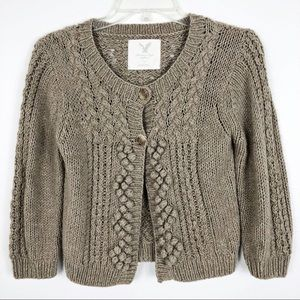 American Eagle Outfitters Cropped Pom Pom Cardigan